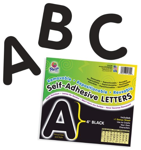 Pacon Letters, 4-Inch, Black (0051620)