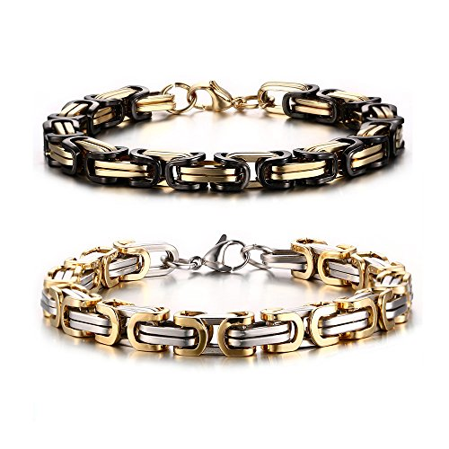 VNOX Two Tone 8mm Stainless Steel Byzantine Chain Link Metal Bracelet Set for Men Boy,9 Inches