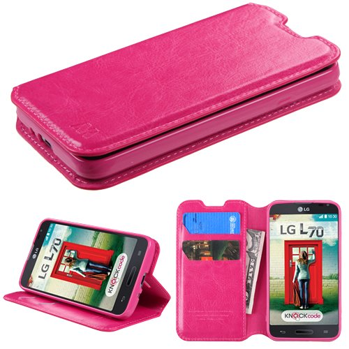 Wydan Case for LG Optimus L70 Optimus Exceed 2 LS620 Realm Ultimate 2 - Credit Card Leather Wallet Style Cover - Hot Pink w/Stylus (Lg Realm Hot Pink Phone Case)