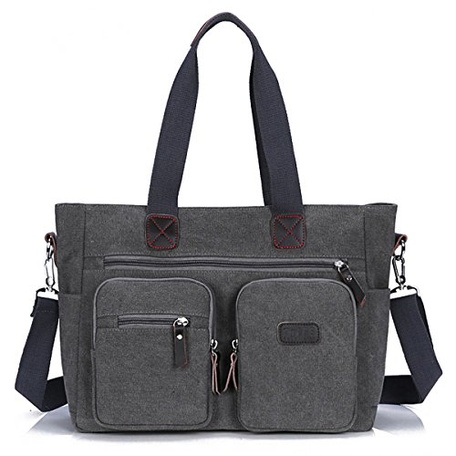 ToLFE Women Top Handle Satchel Handbags Shoulder Bag Messenger Tote Bag Purse Crossbody Bag (Double handles with 9.8'' drop, New-Grey1) by ToLFE