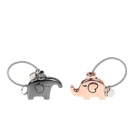YFairy llavero - Mini elefante parejas candado de seguridad ...