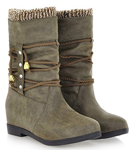 IDIFU Womens Comfy Strap Faux Fur Lined Heighten Heels Inside Mid Calf Snow Boots Riding Booties Army Green Ed93UbD