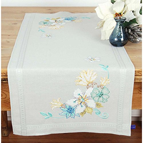 Vervaco Blue & Green Flowers Table Runner Stamped Cross-Stitch Kit
