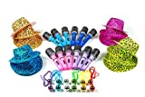 Neon Gangster Rock Star Party Dress Up Set - New Years Eve Costume Dress Up Accessories Bulk Pack of 36,12 Leopard Print Hats, 12 Inflatable Microphones, 12 Disco Ball Necklaces