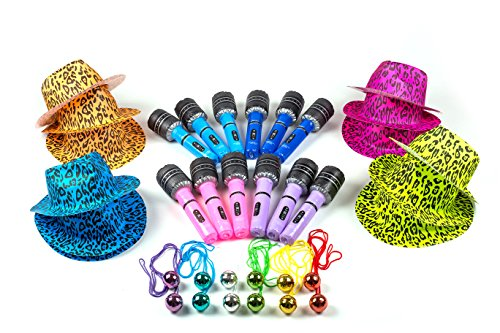 Neon Gangster Rock Star Party Dress Up Set - Halloween Costume Dress Up Accessories Bulk Pack of 36,12 Leopard Print Hats, 12 Inflatable Microphones, 12 Disco Ball Necklaces - Disco Theme Party Outfits