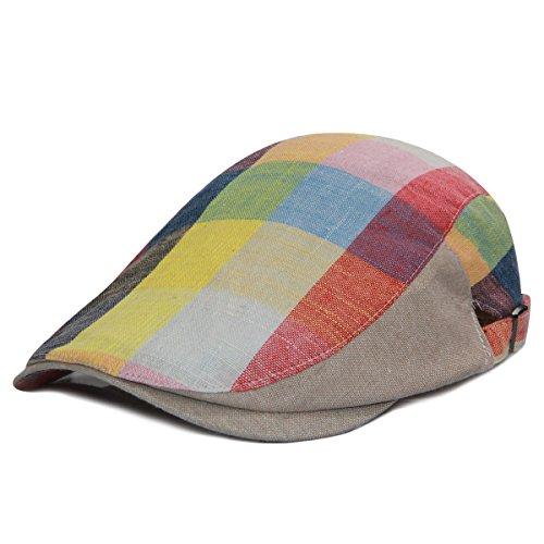 (LETHMIK Cotton Flat Ivy Cap,Unisex Plaid Irish Newsboy Driving Caps Hunting Cabbie Hat Plaid Cotton Rainbow)