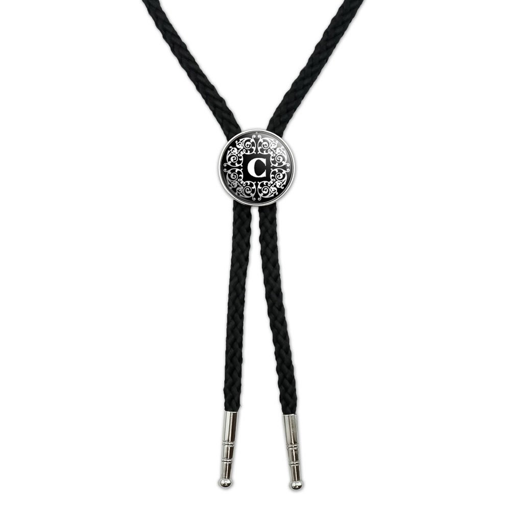 Letter C Initial Black and White Scrolls Western Southwest Cowboy Necktie Bow Bolo Tie Graphics and More BOLOTIE.PL.0003