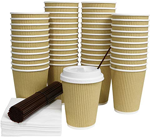 Galashield 50 Pack Disposable Hot Paper Coffee Cups with Lids 12 Ounce Ripple with Stirring Straws and Napkins