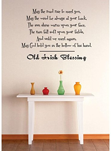 Irish Decal Products (Design with Vinyl 1 Zzz 567 Decor Item Old Irish Blessing Quote Wall Decal Sticker, 12 x 12-Inch, Black)