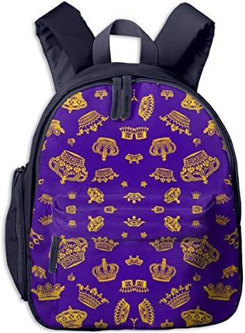 ロイヤルクラウンズ - パープルゴールド 迷子防止リュック バックパック 子供用 子ども用バッグ ランドセル 高品質 レッスンバッグ 旅行 おでかけ 学用品 子供の贈り物
