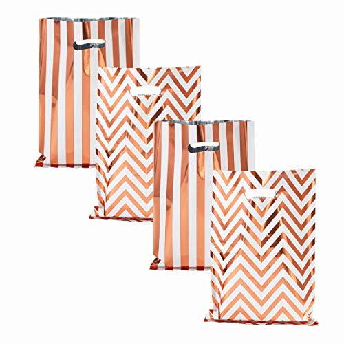 UNIQOOO 60 Metallic Foil Rose Gold Stripe & Wave Wedding Favor Bags, Party Treat Bags Bulk, Gift Candy Cookie Buffet Bag, Great for Xmas, Baby Shower, Birthday Party, Celebrations – 6 1/2″ x 9 3/4