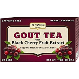 Only Natural Gout Tea - Black Cherry Fruit Extract - 20 Bags -Assist in maintaining healthy uric acid levels and over all well being, 1 OZ 2 Only Natural Gout Tea - Black Cherry Fruit Extract - 20 Bags