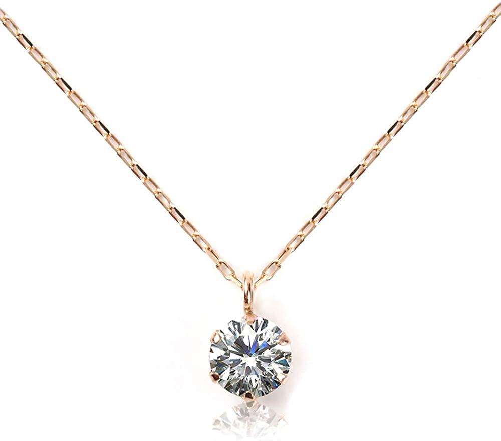 レディースネックレス  ダイヤモンド 0.08ct K10 ピンクゴールド チェーン40cm Amazon