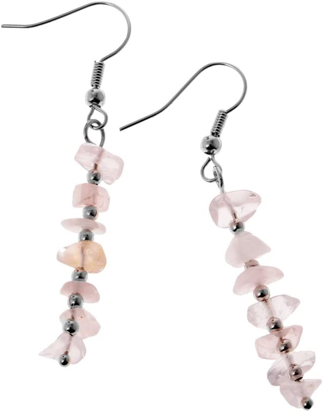 MagiDeal Pendientes Gancho Chakra Irregulares de Grava de Cristal Gota de Piedras Preciosas - Rosado