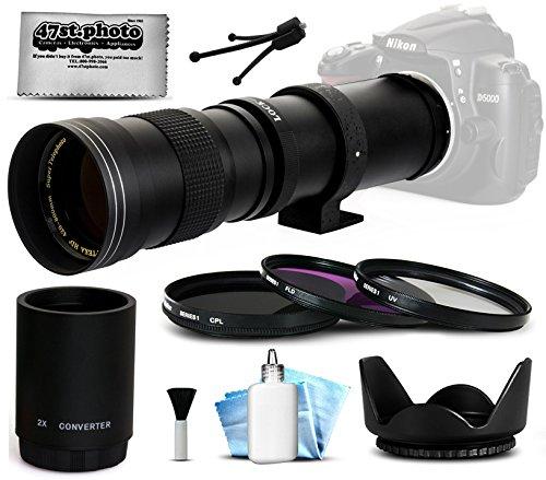 Opteka 420 – 1600 mm f / 8.3 HD望遠ズームレンズバンドルパッケージには、2 x Teleconverter + 3 Piece uv-cpl-flフィルタ+チューリップフード+キャップキーパー+レンズクリーニングキットfor Canon EOS M / m2 DSLR SLRデジタルカメラ B00PMBCU3C