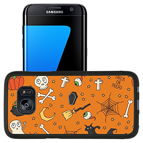 [Luxlady Premium Samsung Galaxy S7 Edge Aluminum Backplate Bumper Snap Case IMAGE ID: 31443678 Happy Halloween Seamless pattern with pumpkins skulls cats spider s web ghosts monsters] (Cute Halloween Ghost Clip Art)