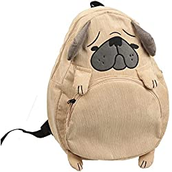 Women Casual Corduroy Backpack Girls Cute Cartoon Pugs Dog Fox Embroidery Schoolbag Shoulder Bag Rucksack (Pugs)