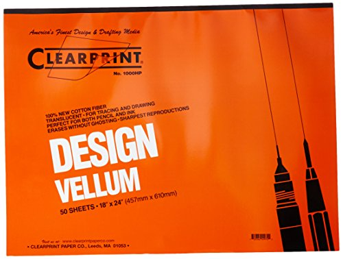 Clearprint 1000H Design Vellum Pad, 16 lb, 100% Cotton, 18 x 24 Inches, 50 Sheets, Translucent White, 1 Each (Clearprint 1000h Drafting Vellum)