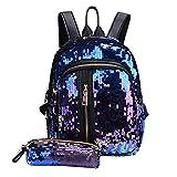 Fashion Girls Teen Sequins School Bag Backpack Travel Daypack Shoulder Bag+Clutch Wallet (Blue)