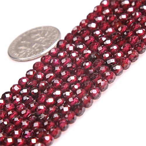 "Garnet Beads for Jewelry Making Natural Gemstone Semi Precious AAA Grade 4mm Round Faceted 15"" JOE FOREMAN"