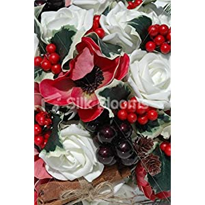Real Touch Red Anemone Ivory Rose Christmas Wedding Bouquet 2