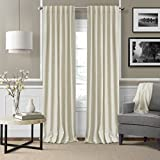 Elrene Home Fashions Colton 3 in 1 Room Darkening Heavy Weight Textured Linen Blend Window Panel 52-Inch by 95-Inch, Ivory For Sale