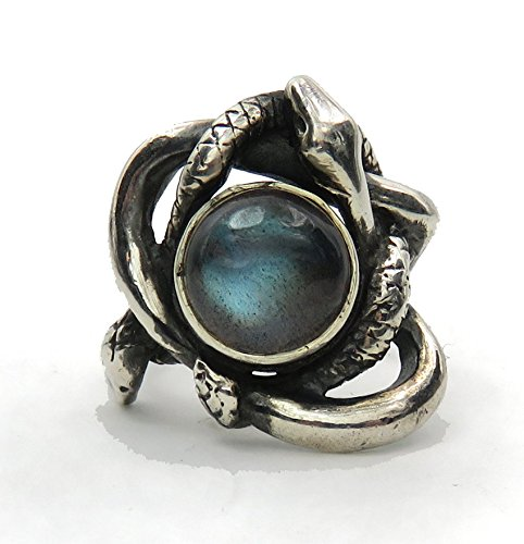 (GeshaR Entwined Serpents Ring - Sculpted Sterling Silver Ring with Two Snakes and a Labradorite or Blue Goldstone)