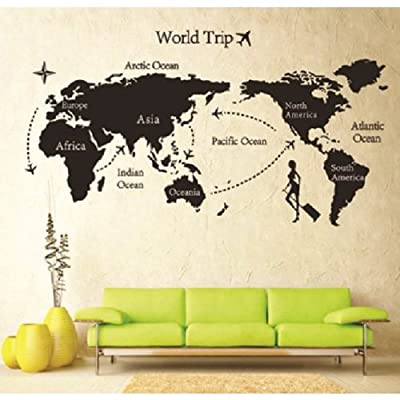 "MZY LLC (TM) 55""*31.5"" Map Of World Trip Vinyl Mural Art Wall Sticker Decals Decor For Living Room"