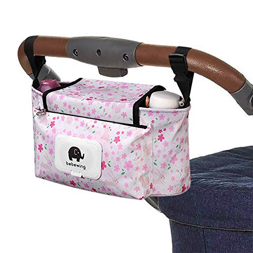 Pink Baby Prams - Baby Stroller Organizer Bag, Pram Buggy Organiser Storage Bag for Buggies, Diaper Bag Hanging Bottle Holder for Pushchair, with Sticky, Straps & Clips, Waterproof, Universal. (Pink)