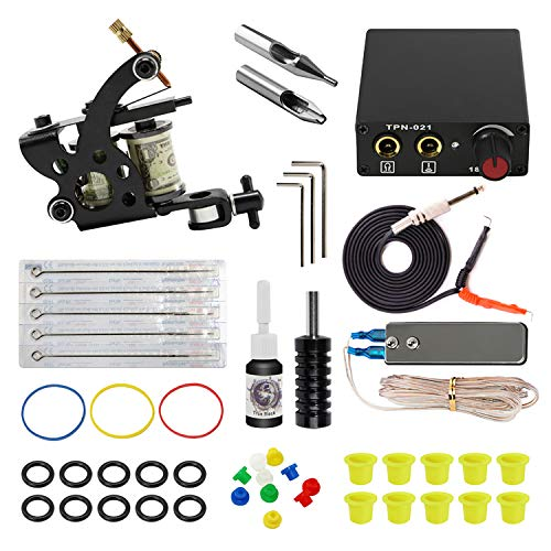 (ITATOO Complete Tattoo Kit for Beginners Tattoo Power Supply Kit 1 Black Tattoo Ink 5 Tattoo Needles 1 Pro Tattoo Machine Guns Kit Tattoo Supplies )