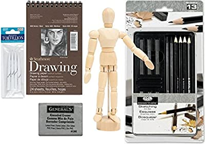 Sketching Drawing Kit Sketch Pad Includes Graphite Pencils / Sticks / Woodless Graphite and tin + Paperback How to Draw Made easy + Wooden Figure Model / Blending tools & Kneaded eraser