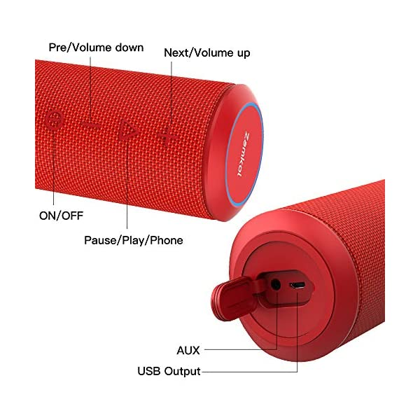 Zamkol Enceinte Bluetooth Portable, Waterproof Haut-Parleur Bluetooth Enceinte sans Fil 24W, 360° HD Bass Pilote Double, Bluetooth 4.2, étanche IPX6, Mains Libres et Technologie TWS - Rouge 6