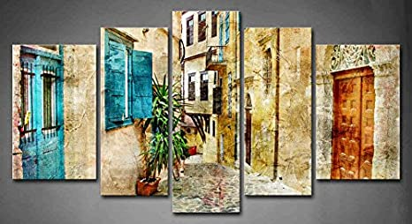 Amazon Com 5 Panel Wall Art Old Streets Of Greece Painting The Picture Print On Canvas Architecture Pictures For Home Decor Decoration Gift Piece Stretched By Wooden Frame Ready To Hang Posters