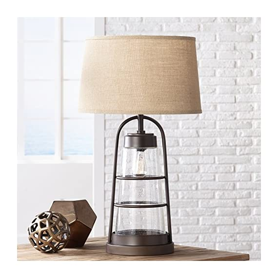 """Industrial Table Lamp with Nightlight Bronze Cage Glass Lantern Brown Burlap Shade for Living Room Family - Franklin Iron Works - 31"""" high overall. Round base is 10"""" wide. Shade is 16"""" across the top x 18"""" across the bottom x 11"""" high. From bottom of shade to tabletop is 19 3/4"""". Uses one 150 watt standard-medium base bulb (not included). Comes with one 25 watt Edison medium base bulb for built-in nightlight. 4-position switch for easy lighting control: top light on, night light on, both on, both off. - lamps, bedroom-decor, bedroom - 51%2BsGjElBaL. SS570  -"""