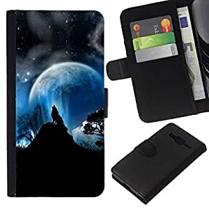 All Phone Most Case / Oferta Especial Cáscara Funda de cuero Monedero Cubierta de proteccion Caso / Wallet Case for Samsung Galaxy Core Prime // Full Moon Wolf Wolves Howl Stars