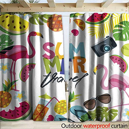 (Patio Gazebo Pergola Cabana Vector Banner Poster Flyer Design with Flamingo Palm Leaves Cocktail Watermelon and Pineapples Drapery W120 x L96)