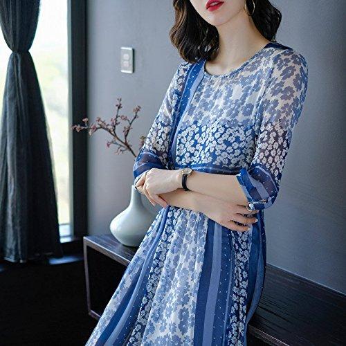 2018 Style Femelle Folk Robe Style d't L Soie Blue d'usure Nouveau imprims rtro Robe Longue MiGMV Robes Fleurs de qTwzzt