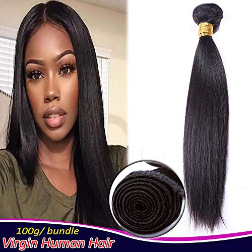 Unprocessed Human Hair Weaves Bundle Straight Sew in Hair Weft Extensions 100g/bundle Virgin Brazilian Hair 8 Inch #1B Natural Black