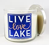 Bath and Body Works White Barn Live Love Lake 3 Wick Turquoise Waters Candle 14.5 Ounce