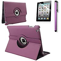 RUBAN 360 Degree Rotating Automatic Wake/Sleep Stand Case with Screen Protector for Apple iPad 2/iPad 3/iPad 4 from RUBAN