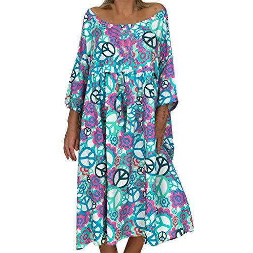 - iHPH7 Dress Summer Short Sleeve V Neck Casual Dress Plus Size Off Shoulder Floral Print Irregular Casual Dress Womens (L,10- Blue)