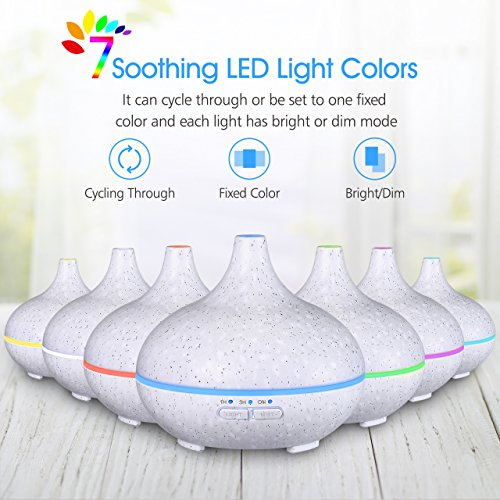 VicTsing 150ml Mini Aroma Essential Oil Diffuser, Ultrasonic Cool Mist Humidifier with 14 Light Colors for Home, Office, Study or Baby Room (Straw White)