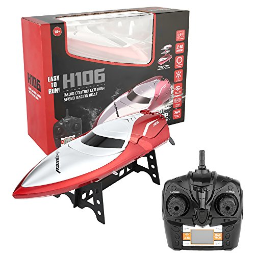 RC Boat, ASGO H106 Radio Controlled Boat 2.4GHz 4CH High Speed Electric Racing Boat for Kids