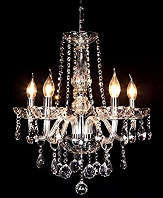 Crystal Ball Pendant Candle Chandelier with 5 lights of Ella Fashion