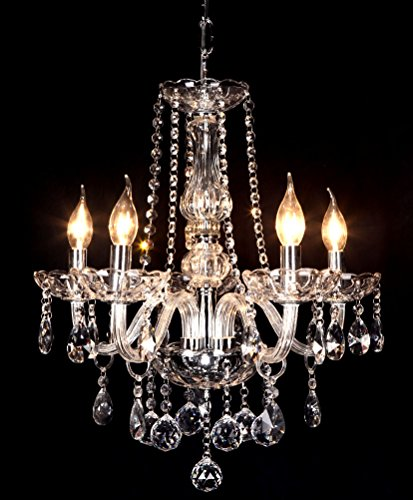 Classic Vintage Crystal Candle Chandeliers Lighting 5 Lights Pendant Ceiling Fixture Lamp for Elegant Decoration D23.6