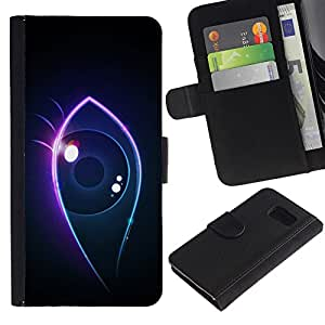 Planetar® Colorful Pattern Flip Wallet Leather Holster Protective Skin Case Cover For Samsung Galaxy S6 / SM-G920 ( Neon eye )