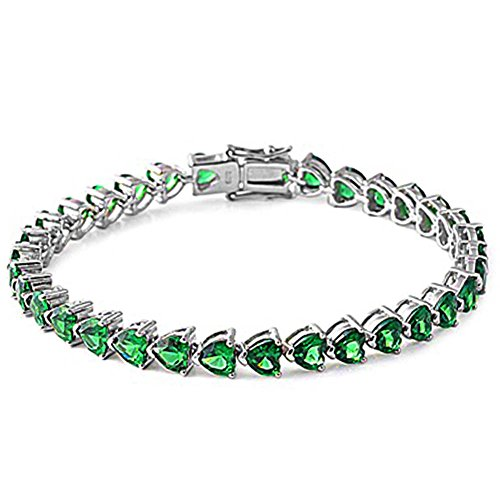 Sterling Silver Heart Simulated Green Emerald (Emerald 925 Silver Bracelet)