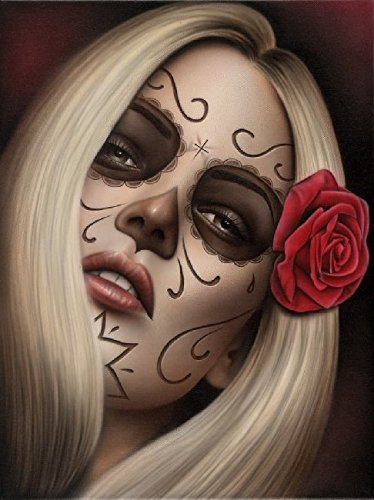 [La Muerta by Spider Tattooed Mexican Sugar Skull Mask Day of the Dead Artwork Giclee Canvas Art] (Day Of The Dead Female Mask)