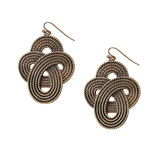 Humble Chic Women's Antiqued Gold Knot Earrings - Infinity Dangles Gold