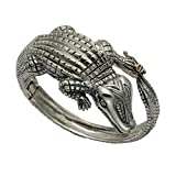 Large Sterling Silver Alligator Hinged Bangle
